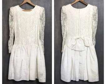 Vintage 80's Wedding Dress Ivory Wedding Dress White Lace Dress Low Waist Prom Dress 80's Dress 80's Party Dress Sheer Medium B1