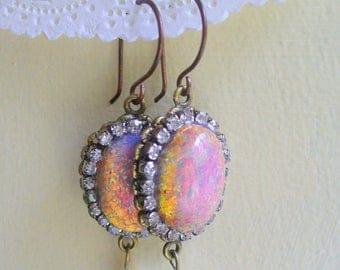Oval Opal, Rhinestone Long Dangle Earring, Antique Brass Earring, Large Opal Cabochon, Fresh Water Pearls, Rhinestone, Opal Cameo Earring