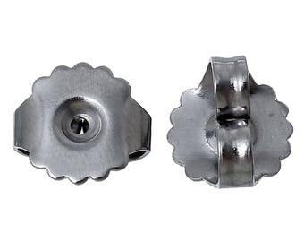 Earring Back nut 20 piece Butterfly Surgical Steel Nickel Lead Free Hypoallergenic metal allergy pierced ear medium weight silver tone DIY