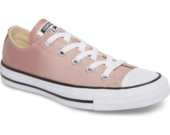 Converse low top Pink Glitter Wash Chuck Taylor Canvas Blush Custom w/ Swarovski Rhinestone Crystal Bling Ombre All Star Sneakers Shoes
