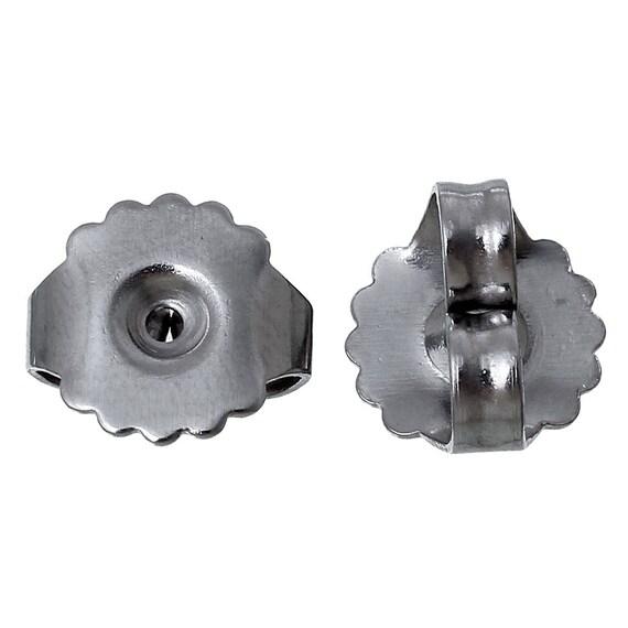 Earring push Back nut 20 pc Butterfly Surgical Steel Nickel Lead Free Hypoallergenic metal allergy pierced ear medium weight silver tone DIY