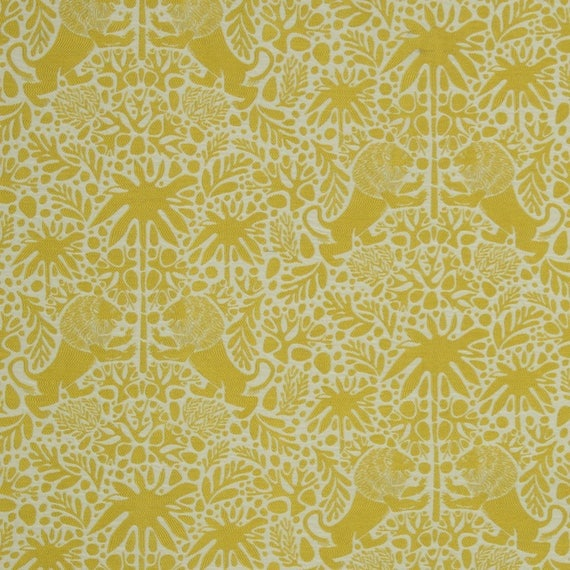Animal Upholstery Fabric with Lions - Woven Heavyweight Yellow ...