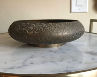 Wide Etched Hollywood Regency Solid Brass Planter Floral India