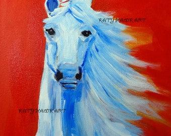 Argo White Horse Painting on Red Orange Background 12x 12
