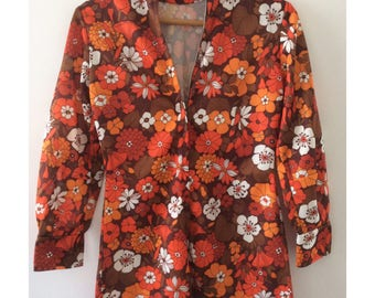 Vintage 1960's Flower Power Groovy Shirt- Retro Zipped Blouse- 1970's Mod Flower Clothing