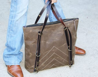 Waxed Canvas zippered tote - heavy weight water resistant canvas and genuine leather accents - 010061