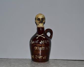 "Skull Poison ""Sodden Death"" Decanter ~ Skeleton Whiskey Jug ~ Vintage Barware ~ Halloween ~ Epsteam"