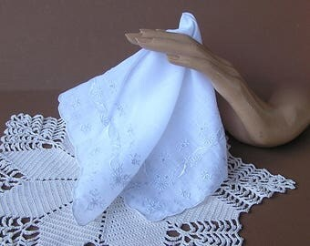 White on White Embroidery Wedding Handkerchief . Vintage Bride's Hanky