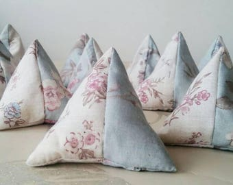 Set of 8 handmade pyramid sewing pattern weights. Shabby chic recycled fabric. Supplies, tools