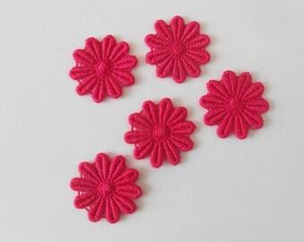 5 lace flowers pink fuchsia 2.6 cm