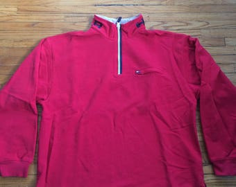 Vintage Tommy Hilfiger 1/4 Zip Hilfiger Spell Out on Collar Oversize Sweatshirt