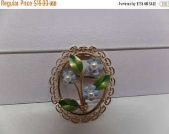 ON SALE KREMENTZ Signed Vintage Forget Me Not Brooch