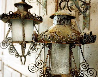 Rustic farmhouse wrought iron electric lanterns lighting wall hooks 2 distressed rusty blue white wall hanging & Timeless Home decor and gifts shipped 1 to 3 by AnitaSperoDesign azcodes.com