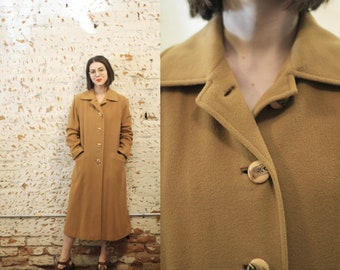 Vintage 1960s 70s small / medium Denise Originals pure Chinese Cashmere camel colored coat / peacoat /