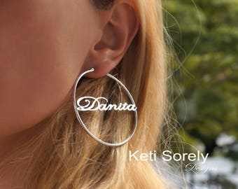Personalized large Hoop Errings With Your Name in Script Font (Order Any Name) - Name Earrings in Yellow Gold, Rose Gold Or Sterling Silver