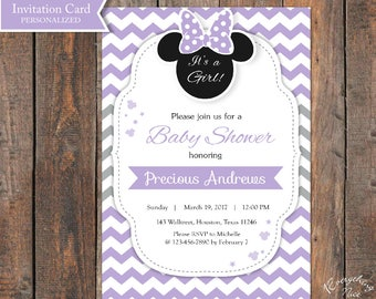 Purple and Gray Grey Minnie Mouse Baby Shower Invitation