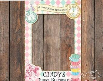 "Alice in Wonderland 24"" x 36""  Happy Birthday Photo Booth Frame Digital Download"