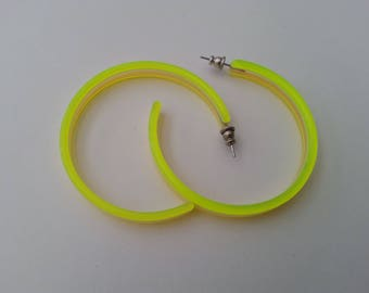 1960 Earrings Lucite Fluorescent Lime Green Yellow Gift for her