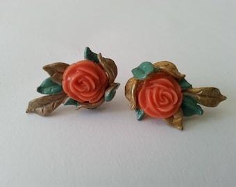 Flower earrings orange rose screw back earrings painted metal and plastic Gift for her Birthday Wedding