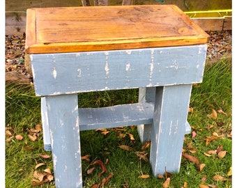 Rustic Reclaimed Wood Stool Country
