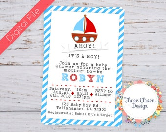 Nautical Printable Baby Shower Invitation