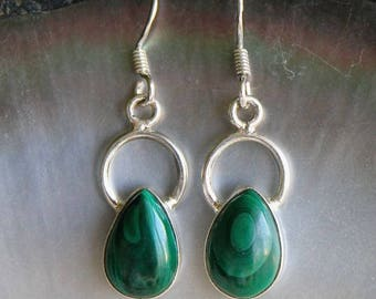 Stones of Malachite and Sterling Silver 925 earrings