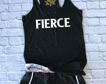 fierce racerback tank - strong woman tee - funny workout tank - gym shirt - she is fierce - yoga shirt - racerback tank top  - running shirt