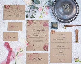 kraft card floral Watercolour Wedding Invitation & Packages   Custom Calligraphy Wedding   peonie Wedding   The Bloom Collection