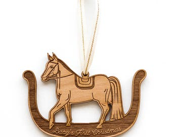 Rocking Horse Ornament- Baby's First Christmas, Wood Ornament