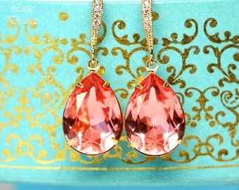 Coral Earrings Peach Gold Earrings Swarovski Earrings 16k Gold Plated Bridesmaid Gift Wedding Earrings Beach Wedding Jewelry CO31H