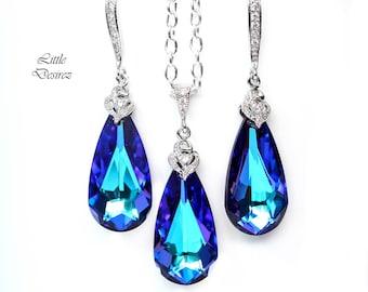 Purple Bridal Jewelry Set Swarovski Crystal Bridesmaid Jewelry Wedding Jewelry Prom Jewelry Crystal Jewelry Silver Color Jewelry HE33JS