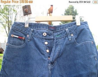 SALE Tommy Hilfiger Hipster Flare Button Fly Denim Jeans Waist 30''  medium weight Jean material, vintage Made in Canada