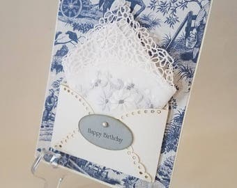 Vintage Lace Edge Embroidered Handkerchief Blue Toile Horse Keepsake Gift Happy Birthday Hankie Card