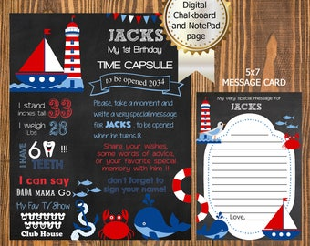 First BIRTHDAY Nautical TIME CAPSULE Board and Message Card - Nautical Time Capsule Chalkboard & 5x7 Note Card - Boy Birthday