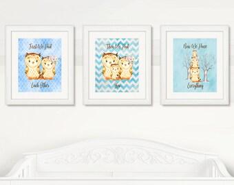 OWLS Nursery Wall Art, Owls Baby Boy Nursery WALL ART, Blue Background, Boy Wall Art, Digital Printable, Instant Download, Owls