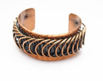 Renoir Copper  Cuff Bracelet  - Coil Modernistic - Mid century Mod - chunky Bangle