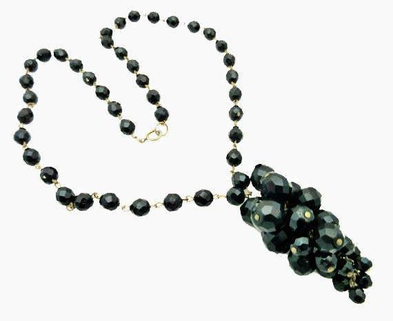 Black Grape Cluster Necklace -  Facet Cut Glass beads - mid century