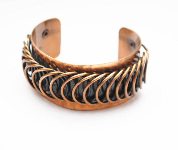 Renoir Copper  Cuff Bracelet  - Coil Modernistic - Mid century Mod - chunky Bangle