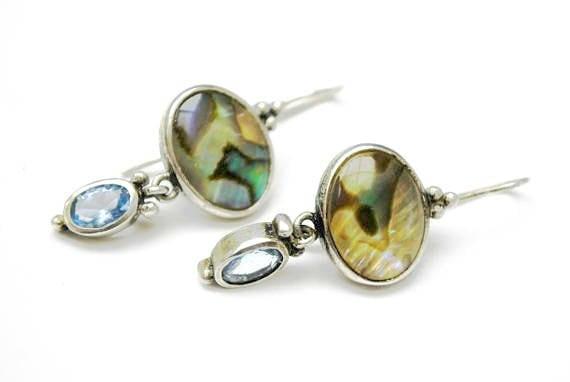 Abalone Sterling dangle Earrings- Blue open back glass - Drop pierced earrings