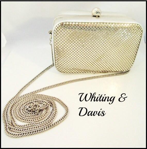 Whiting and Davis bag - Silver Mesh Evening purse - Box clutch bag -