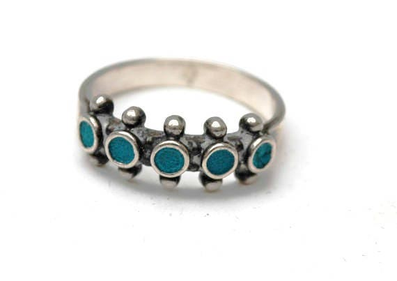 Turquoise sterling band ring - southwestern - Native American - size 7