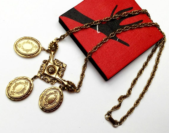 Locket necklace - Signed Art - Triple three locket - gold chain - Art Mode company - Victorian Revival - Pendants