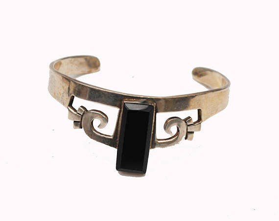 Sterling  Onyx  Cuff Bangle  - Taxco Mexico  - Silver - Black gemstone -Tribal  Bracelet
