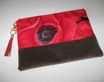 "Red Poppy Clutch Purse  8"" x 11"""