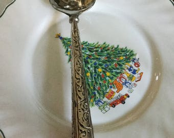 Gorgeous Ornate Baroque Silverplate Holloware Serving Fork with Turquoise Stone Handle