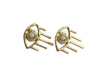 Opal Vision Earrings // Opal Evil Eye Earrings, All Seeing Eye Earrings