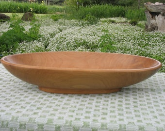 Hand-carved Oval Apple Wood Bowl with Pedestal Base
