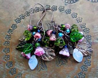 Floral Bouquet Copper Dangle Earrings Pastel Czech Glass