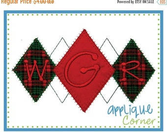 50% Off INSTANT DOWNLOAD Argyle Two applique design in digital format for embroidery machine by Applique Corner