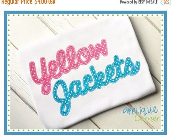 40% OFF INSTANT DOWNLOAD 3337 Yellow Jackets Script applique digital design for embroidery machine by Applique Corner